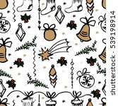 christmas seamless pattern.... | Shutterstock . vector #539198914
