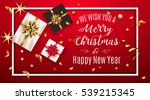 vintage christmas greeting card ... | Shutterstock .eps vector #539215345