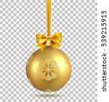 gold christmas ball with ribbon ... | Shutterstock .eps vector #539215915