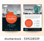 poster flyer pamphlet brochure cover design layout with circle shape graphic elements and space for photo background, black, red, turquoise color scheme, vector template in A4 size | Shutterstock vector #539228539