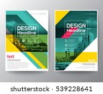 Green diagonal line Brochure annual report cover Flyer Poster design Layout vector template in A4 size | Shutterstock vector #539228641