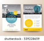 poster flyer pamphlet brochure cover design layout with circle shape graphic elements and space for photo background, blue and yellow color scheme, vector template in A4 size | Shutterstock vector #539228659
