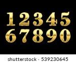 gold numbers set. golden... | Shutterstock .eps vector #539230645