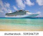 White Luxury Cruise Ship Docke...