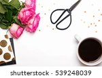 pink roses  coffee and other... | Shutterstock . vector #539248039