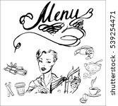 girl  retro  menu  book  vector ... | Shutterstock .eps vector #539254471