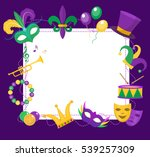 mardi gras frame template with... | Shutterstock .eps vector #539257309