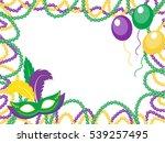 mardi gras beads colored frame...   Shutterstock .eps vector #539257495