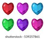 jewelry heart set. gemstones... | Shutterstock .eps vector #539257861