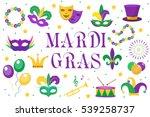 mardi gras carnival set  icons  ... | Shutterstock .eps vector #539258737