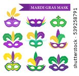 mardi gras mask set  design... | Shutterstock .eps vector #539258791