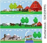 vector set of horse riding ... | Shutterstock .eps vector #539259991