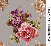 hand painting red rose and... | Shutterstock . vector #539284579
