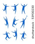 set of stylized blue figures | Shutterstock .eps vector #53930230