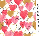 watercolor heart balloons... | Shutterstock .eps vector #539315329