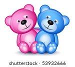 Teddy Bear Couple Isolated On...