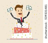 businessman jumps out of cake... | Shutterstock .eps vector #539331481