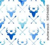 deer heads seamless pattern.... | Shutterstock .eps vector #539346805