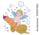 valentine's day. funny cupid... | Shutterstock .eps vector #539347081