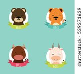 cute cartoon animals | Shutterstock .eps vector #539371639