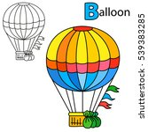 air balloon. coloring book page.... | Shutterstock .eps vector #539383285