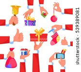 set icon hand santa claus give... | Shutterstock .eps vector #539389081