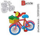 bicycle. coloring book page.... | Shutterstock .eps vector #539391091