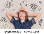 young relaxed woman with closed ... | Shutterstock . vector #539413345