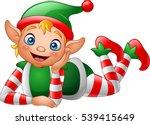 cartoon elf lying on the floor | Shutterstock .eps vector #539415649
