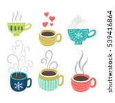 hot tea  coffee cups set.... | Shutterstock .eps vector #539416864