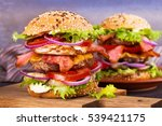 burger with beef  bacon  tomato ... | Shutterstock . vector #539421175