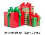 green and red gift box with a... | Shutterstock . vector #539421451
