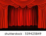red curtains and wooden stage... | Shutterstock . vector #539425849