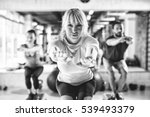 group of athletes doing squats... | Shutterstock . vector #539493379