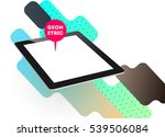 tablet pc icon with geometric...   Shutterstock .eps vector #539506084