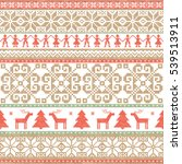 christmas and new year knitted... | Shutterstock .eps vector #539513911