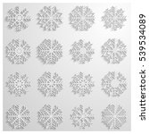 set of sixteen white snowflakes ... | Shutterstock .eps vector #539534089