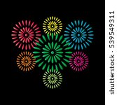 fireworks colorful isolated on... | Shutterstock .eps vector #539549311