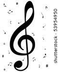 illustration of a g clef with... | Shutterstock . vector #53954950