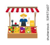 cartoon farmer vegetable seller ... | Shutterstock .eps vector #539571607