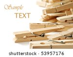 Wooden Clothespins On White...