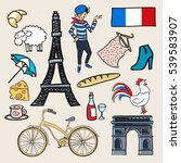 cartoon elements icons france.... | Shutterstock .eps vector #539583907