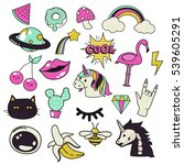 trendy hand draw patch badges ... | Shutterstock .eps vector #539605291