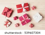 top view of various gift boxes... | Shutterstock . vector #539607304