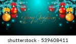 christmas card with red and... | Shutterstock .eps vector #539608411