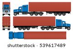 big truck with container. semi... | Shutterstock .eps vector #539617489