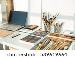 painter workplace in order side ... | Shutterstock . vector #539619664