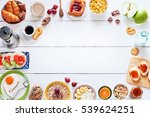 breakfast menu food frame with... | Shutterstock . vector #539624251