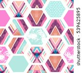 watercolor hexagon seamless... | Shutterstock . vector #539625895