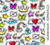 seamless pattern with... | Shutterstock . vector #539664121